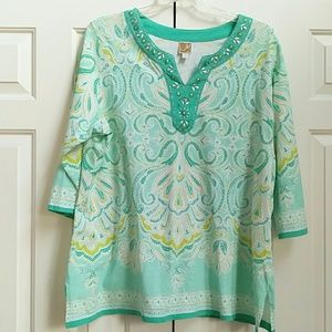 Pretty cotton knit top in teal, white, light green